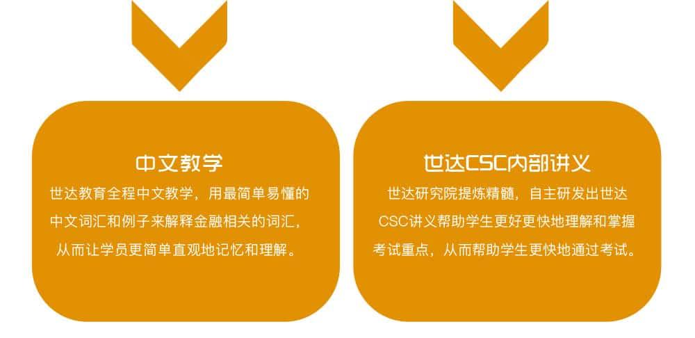 中文教学 世达教育全程中文教学,用最简单易懂的中文词汇和例子来解释金融相关的词汇,从而让学员更简单直观地记忆和理解。世达CSC内部讲义 世达研究院提炼精髓,自主研发出世达CSC讲义帮助学生更好更快地理解和掌握考试重点,从而帮助学生更快地通过考试。