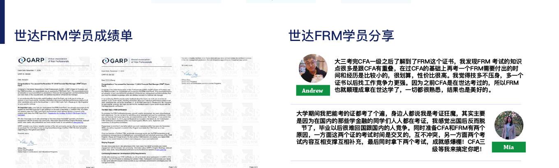 世达FRM学员成绩单&世达FRM学员分享