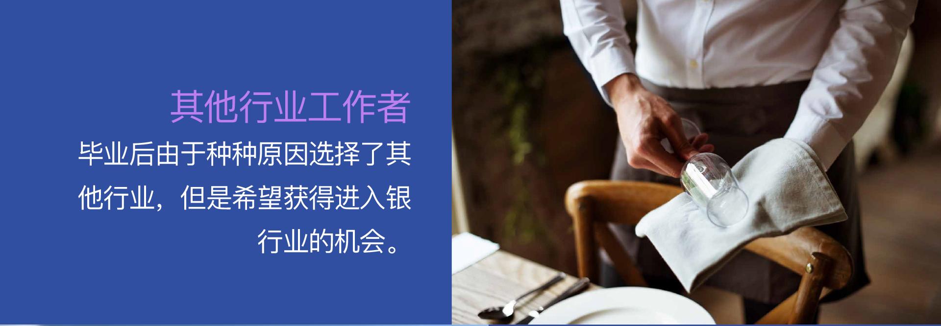 其他行业工作者 - 毕业后由于种种原因选择了其他行业,但是希望获得进入银行业的机会。
