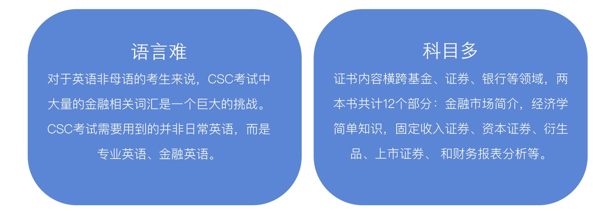 语言难 对于英语非母语的考生来说,CSC考试中大量的金融相关词汇是一个巨大的挑战。 CSC考试需要用到的并非日常英语,而是专业英语、金融英语。科目多 证书内容横跨基金、证券、银行等领域,两本书共计12个部分:金融市场简介,经济学简单知识,固定收入证券、资本证券、衍生品、上市证券、 和财务报表分析等。难记忆 CSC考试内容广泛,不仅有金融相关知识点,还有大量关于加拿大金融业历史及现状的内容,两本书一共有12个章节,需要考生花大量时间背诵记忆才能在短时间内通过两场考试。难理解 近年来考试的难度加大,灵活性增强,许多选择题目的答案模棱两可,因此需要考生对整个课程的知识体系和内容有全面的理解。 CSC考试重在理解,一旦有任何不清楚的地方需要及时解决,才能顺利通过CSC考试。